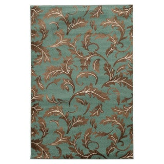 Linon Elegance Forest Blue Rug (5 'x 7')