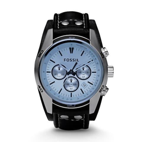 Blue Glass Chronograph Black Leather Strap Men's Watch