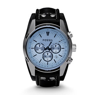 Blue Glass Chronograph Black Leather Strap Men's Watch