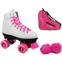 Epic Pink Princess Quad Roller Skates 3-piece Bundle