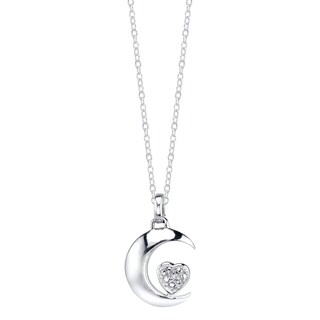 Sterling Silver Diamond Accent 'Moon and Back' Inspirational Pendant