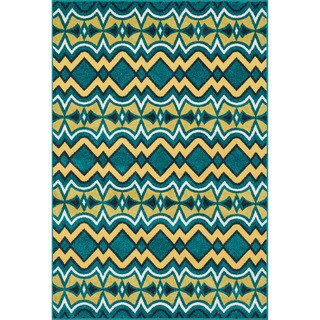 "Indoor/ Outdoor Teal Yellow Geometric Patio Rug - 9'2"" x 12'1"""