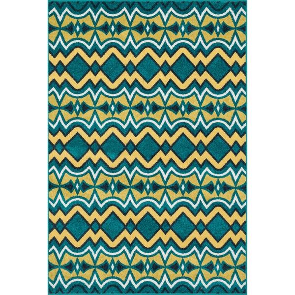 Shop Indoor/ Outdoor Teal Yellow Geometric Patio Rug