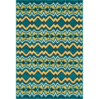 Indoor/ Outdoor Palm Peacock/ Citron Rug (9'2 x 12'1)