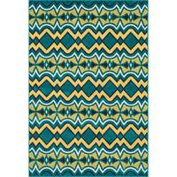 Indoor/ Outdoor Teal Yellow Geometric Patio Rug - 9'2 x 12'1