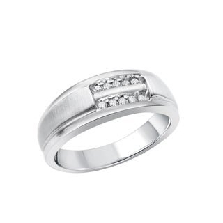 10K White Gold 1/8 CTW 10 Diamond Brushed Finish Ring