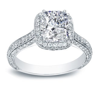 Auriya 18k White Gold 2 1/4ct TDW Certified Fancy Cushion Diamond Halo Double Prong Engagement Ring