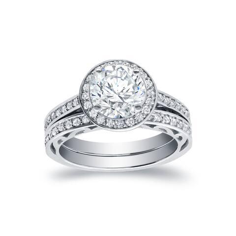Auriya 14k Gold 1 3/4ctw Halo Diamond Engagement Ring Bridal Set