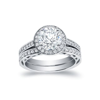 Auriya 14k White Gold 1 3/4ct TDW Round Halo Bridal Ring Set