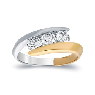 14k Gold 1ct TDW Contemporary 3-Stone Bypass Diamond Ring by Auriya