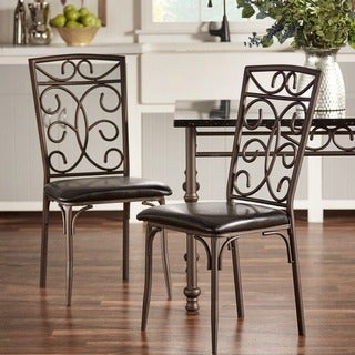 Zella Bistro Metal Scroll Black Bi-Cast Vinyl Dining Chairs by TRIBECCA HOME (Set of 4)