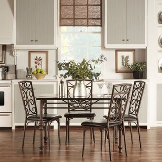 TRIBECCA HOME Zella Bistro Faux Marble Top Metal Scroll 5-Piece Dining Set