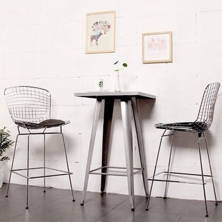 Mod Made Mid Century Modern Chrome Wire Barstool with Faux Leather Interchangeable Seat Pads