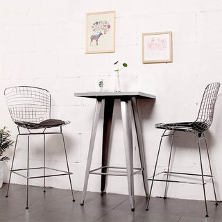 Mod Made Mid Century Modern Chrome Wire Counter Stool with Faux Leather Interchangeable Seat Pads