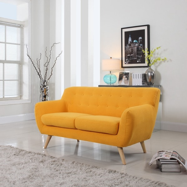 Mid Century Modern Love Seat Living Room Furniture - Assorted Colors