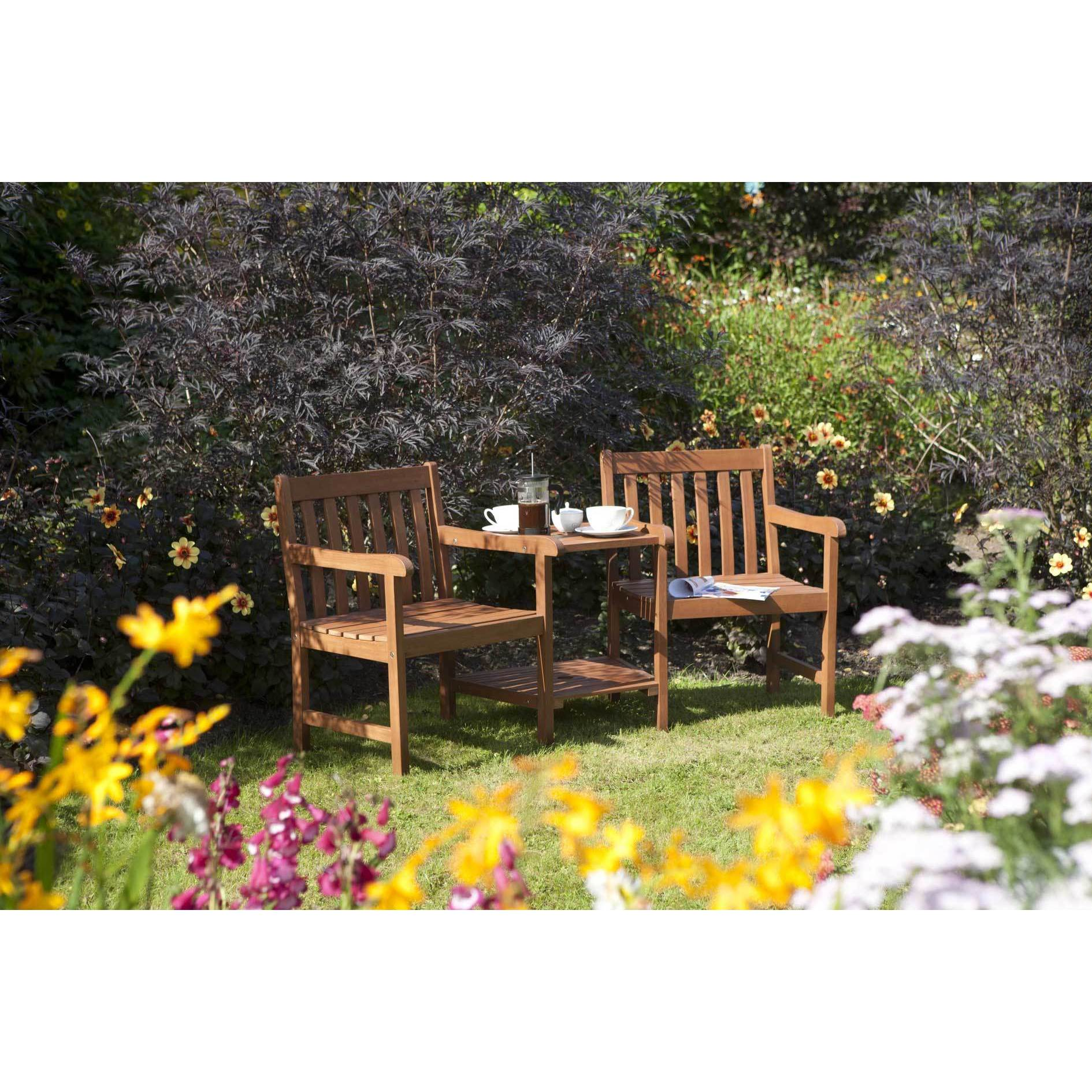 Bosmere English Garden Wood Companion Chair with Table (E...