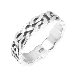 Handmade All Around Celtic Knot Band .925 Sterling Silver Ring (Thailand)
