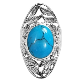 Handmade Nature's Treasure Oval Stone Inlay Sterling Silver Ring (Thailand)