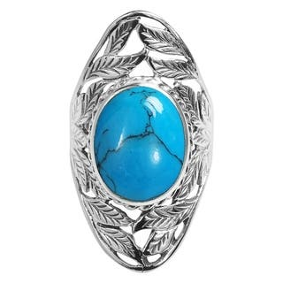 Handmade Nature's Treasure Oval Stone Inlay Sterling Silver Ring (Thailand)|https://ak1.ostkcdn.com/images/products/10118227/P17257225.jpg?impolicy=medium