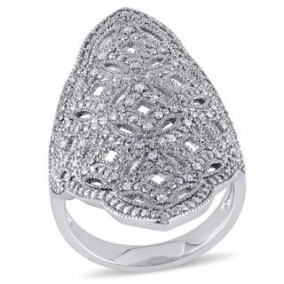 Miadora Sterling Silver 1/4ct TDW Diamond Cocktail Fashion Ring (G-H, I2-I3)