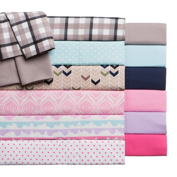 Expressions 2-Pack Back To School Printed and Solid Microfiber Sheet Sets