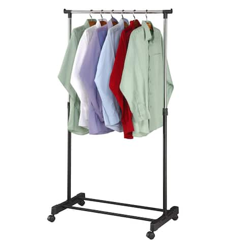 "Adjustable Rolling Garment Rack-Adjusts from 39.5"" to 60"" High"