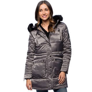 BCBG Women's Cinched Waist Long Parka