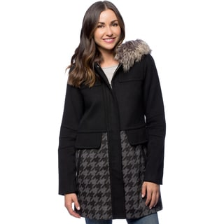 BCBG Women's Black Houndstooth Wool Faux Fur Hood Coat