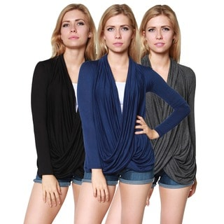 Pack of 3: Free to Live Women's Lightweight Criss Cross Pullover Cardigans