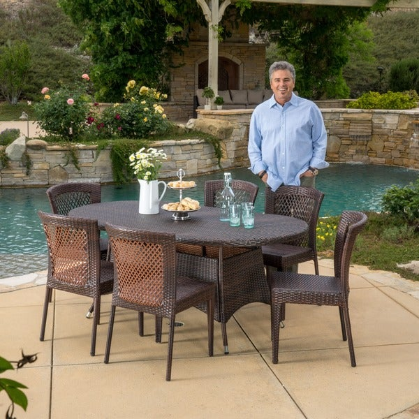 Barnes Outdoor 7 Piece Wicker Dining Set By Christopher Knight Home