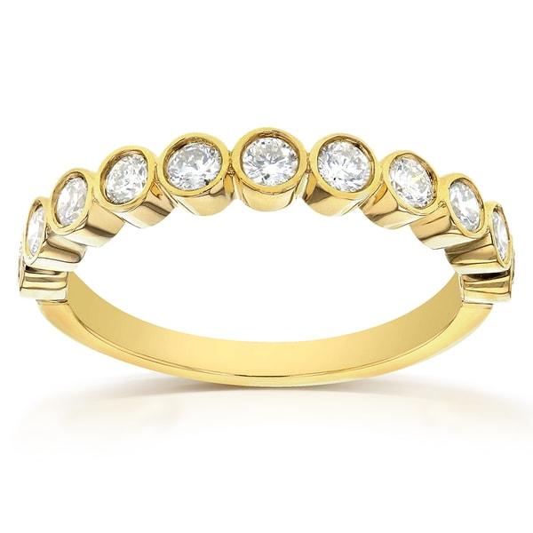Annello by Kobelli 14k Yellow Gold 1/2ct TDW Round-cut Diamond Bezel Wedding Band
