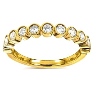 Annello By Kobelli 14k Yellow Gold 1 2ct TDW Round Diamond Bezel Semi Eternity Wedding Band