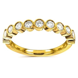 Annello by Kobelli 14k Yellow Gold 1/2ct TDW Round-cut Diamond Bezel Wedding Band (G-H, I1-I2)