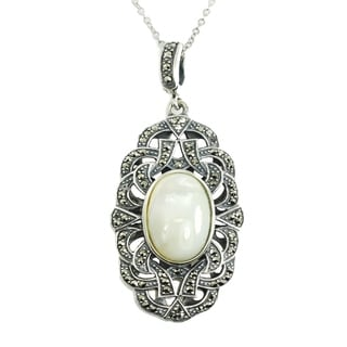 Dallas Prince Silver Mother of Pearl & Marcasite Pendant