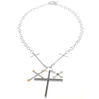Dallas Prince Silver Multi Cross Charm Necklace