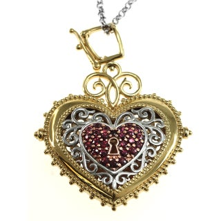 Dallas Prince Sterling Silver Mocha Sapphire Heart Flip Enhancer Pendant