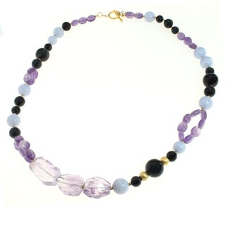 Michael Valitutti Sterling Silver Amethyst & Blue Lace Agate Necklace