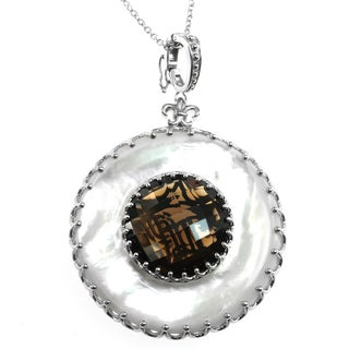 Dallas Prince Silver Mother of Pearl and Smokey Quartz Enhancer Pendant