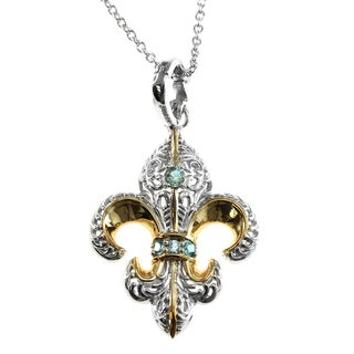 Dallas Prince Sterling Blue Topaz Fleur de Lis Enhancer Pendant