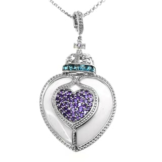 Dallas Prince Sterling Silver White Agate Heart Enhancer with London Blue Topaz & Amethyst