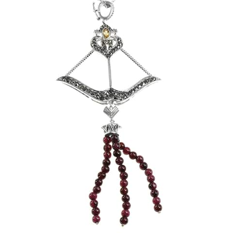 Dallas Prince Sterling Silver Austrian Crystal Marcasite, Garnet & Citrine Enhancer Pendant