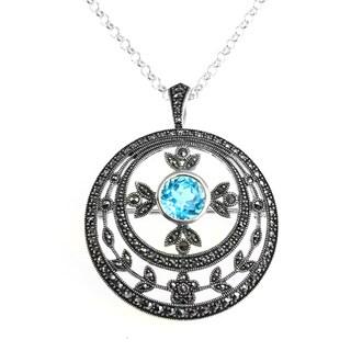 Dallas Prince Silver Sky Blue Topaz & Marcasite Pendant/Brooch