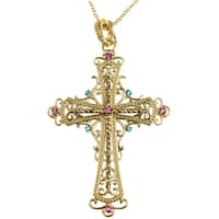 Dallas Prince Gold over Silver Enhancer Marcasite and Gemstone Cross Pendant