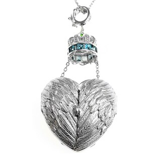 Dallas Prince Silver Mother of Pearl Heart Locket Necklace