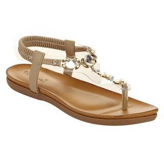 Miim Berry-02 Women's Thong Toe Crystal Stone Elastic Slingback Strap Sandals