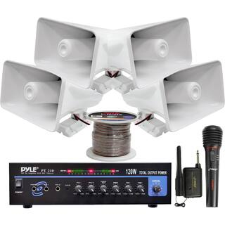 Pyle KTHSP330 120W PA Amplifier System with 4 Horn Speakers/ Wireless Microphone/ Speaker Wire|https://ak1.ostkcdn.com/images/products/10119248/P17258018.jpg?impolicy=medium