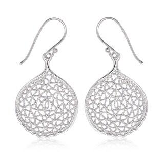 La Preciosa Sterling Silver Designed Circle Dangle Earrings