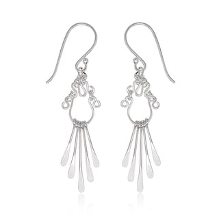 La Preciosa Sterling Silver Double Oval Dangle Earrings