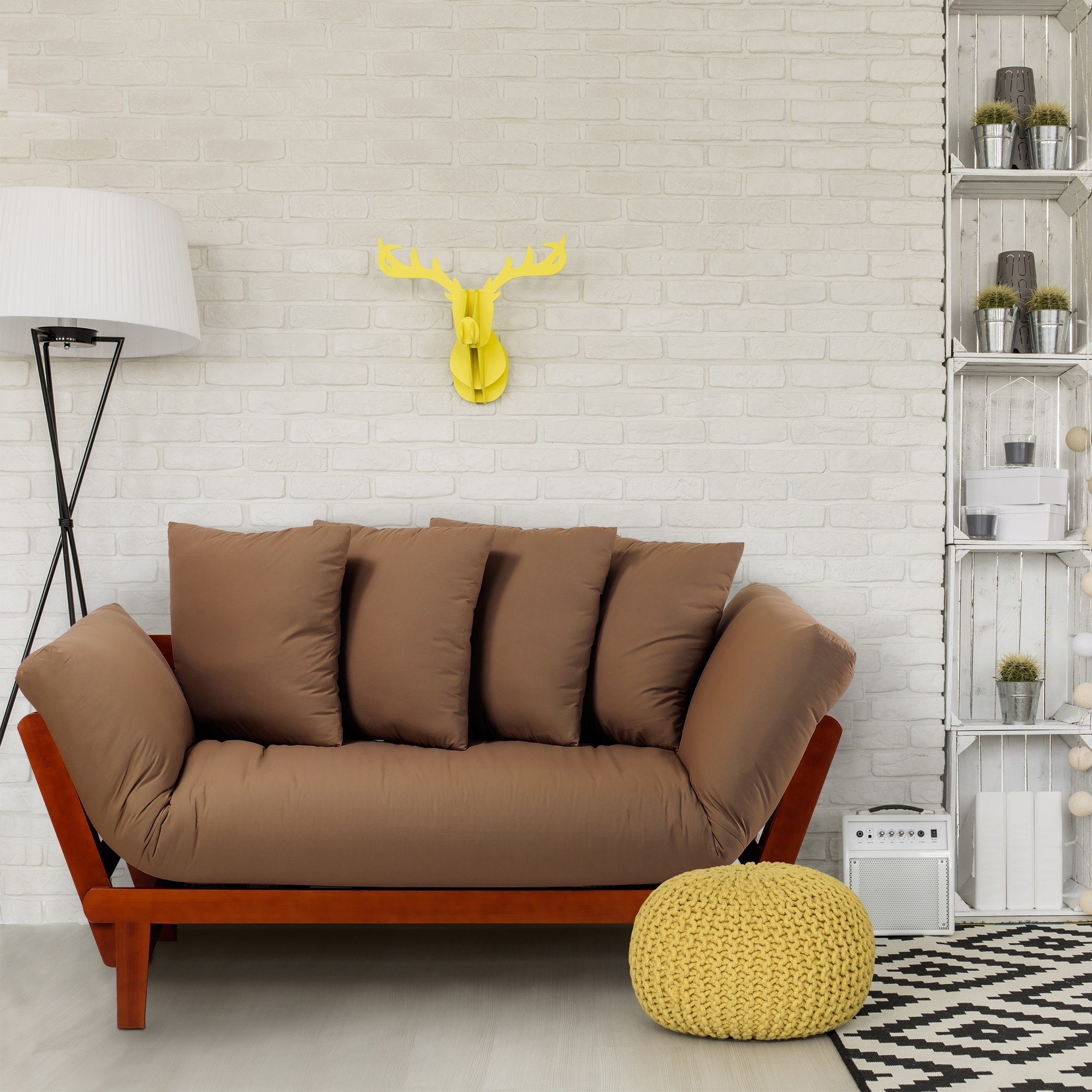 Casual Lounger Sofa Bed (Brown), Size Twin (Cotton)