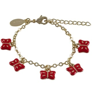 Luxiro Goldtone Children's Enamel Butterfly Charm Bracelet